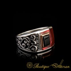 Elegance Asymmetry Silver Band Ring Red