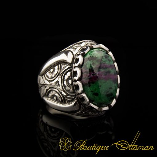 Ruby Zoisite Silver Ring Handmade