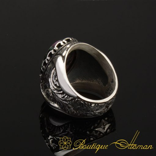 Ruby Zoisite Silver Ring Handmade -4