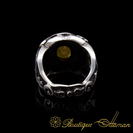 Rare Yellow Sapphire (Pukhraj Ratna) Ring Limited Edition by Boutique Ottoman Exclusive Collection. Made in 925 sterling silver with traditional techniques. Round faced cut rare yellow sapphire which is also known as Pukhraj Ratna stone settled on ring. Special classic design with open back. Natural yellow sapphire stone. One of a kind product only one piece is available. Made by Boutique Ottoman Istanbul Jewelers.