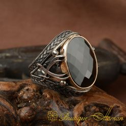 Black Zircon Stone Silver Ring with Double Swords Figure