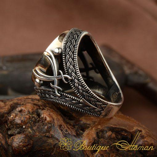 Black Zircon Stone Silver Ring with Double Swords Figure