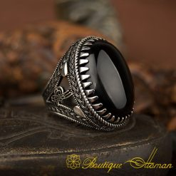 Big Oval Black Aqeeq Silver Ring