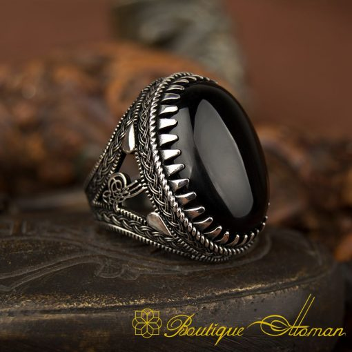 Big Oval Black Aqeeq Silver Ring