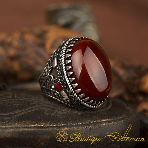 Big Oval Dark Yemeni Aqeeq Silver Ring