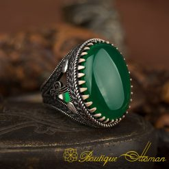 Big Oval Green Aqeeq Silver Ring