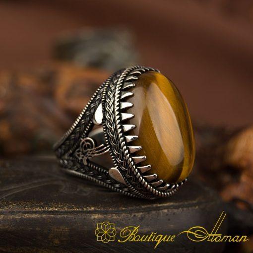 Big Oval Tiger's Eye Silver Ring