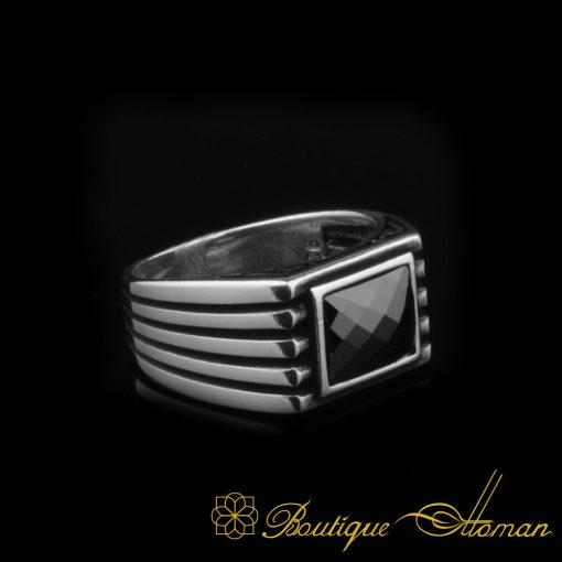 Black Rectangle Faced Cut Zircon Silver Ring