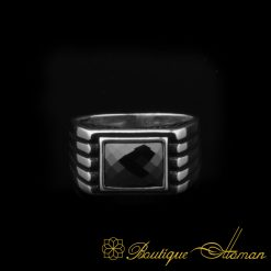 Black Rectangle Faced Cut Zircon Silver Ring