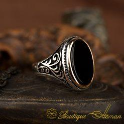 Black Flat Onyx Classic Ring For MenBlack Flat Onyx Classic Ring For Men