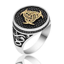 Black Swarovski Covered Three Crescent Ring