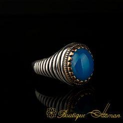 Blue Aqeeq Pinky Finger Ring BOM-3058-2-a