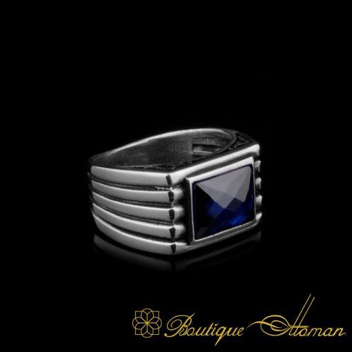 Blue Rectangle Faced Cut Zircon Silver Ring