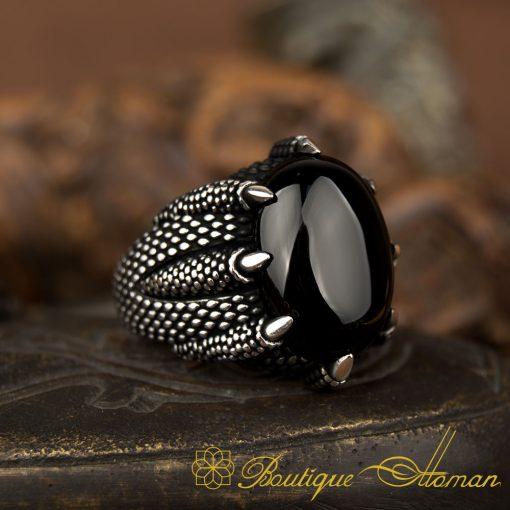 Claw Of Falcon Black Onyx Silve Ring