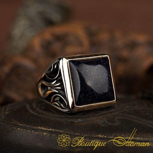 Deep Blue Star Stone Tulip Ring