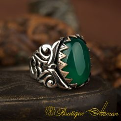 Ela Collection Green Aqeeq Silver Ring