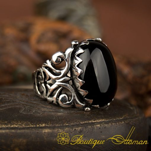 Ela Collection Black Onyx Silver Ring