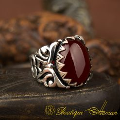 Ela Collection Red Aqeeq Silver Ring