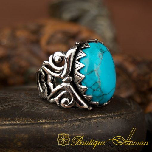 Ela Collection Turquoise Silver Ring