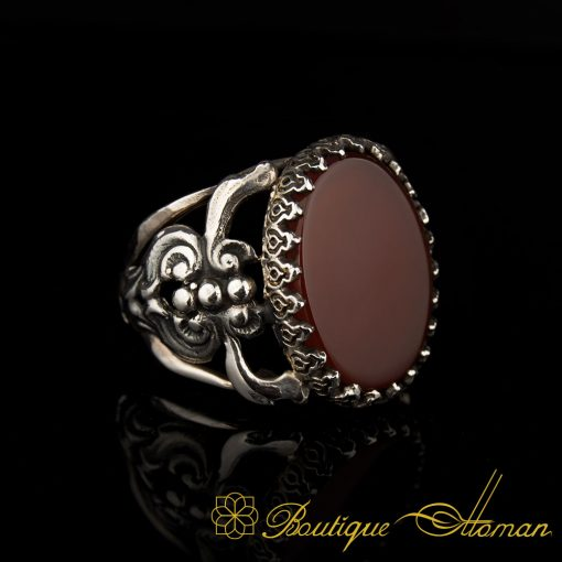 Flat Red Agate Traditional Silver Men Ring
