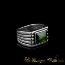 Green Rectangle Faced Cut Zircon Silver Ring Green Rectangle Faced Cut Zircon Silver Ring