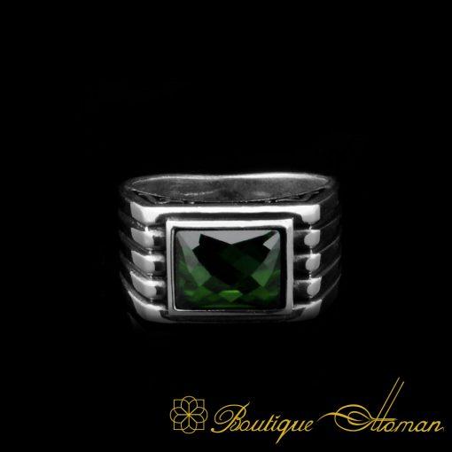 Green Rectangle Faced Cut Zircon Silver Ring