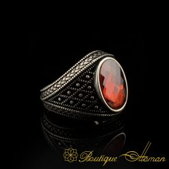 Micro Detailed Faced Cut Red Zircon Silver Ring