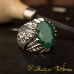 Pasha Collection Hand Engraver Emerald Ring
