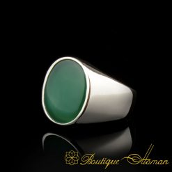 Plain Round Green Agate Modern Silver Ring