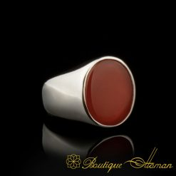 Plain Round Red Agate Modern Silver Ring