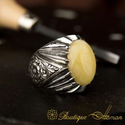 Raw Collection Hand Engraver Amber Ring BOM-3039-5-a