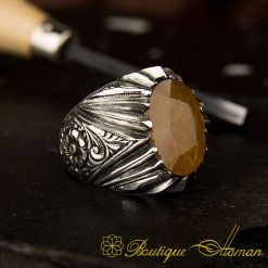 Raw Collection Hand Engraver Yellow Sapphire Ring