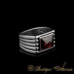 Red Rectangle Faced Cut Zircon Silver Ring
