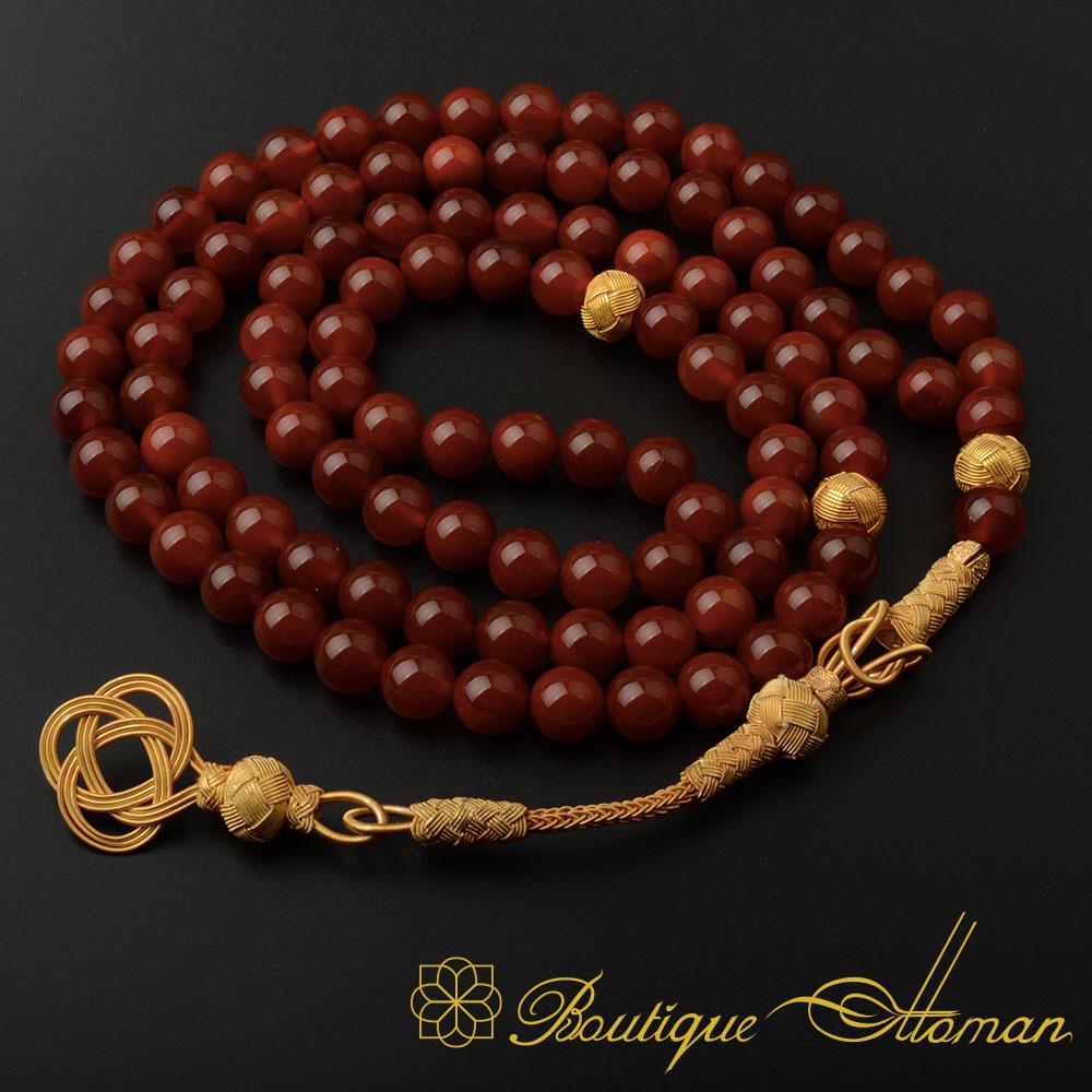 Red-Liver-Yemeni-Aqeeq-99-Beads-Tasbeeh-Misbaha-Prayer-Beads-Rosary---BOM-2001-b