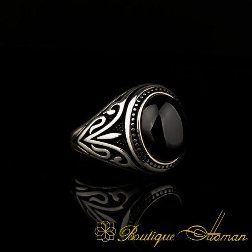 Round Black Aqeeq Onyx Pinky Ring BOM-3062-3-a