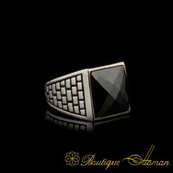 Square Faced Cut Black Zircon Classic Silver Men Ring