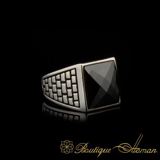 Square Faced Cut Black Zircon Classic Silver Men Ring