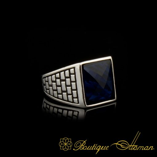 Square Faced Cut Blue Zircon Classic Silver Men Ring made in 925 sterling silver. Square faced cut shape dark night blue zircon stone settled on ring. Back side is open, stone touches your skin. Suitable for pinky finger use due to size. Classic design with different color and stone options. Square Faced Cut Blue Zircon Classic Silver Men Ring is 9 gr. (depends your ring size) Made in Istanbul, Turkey by hand by Boutique Ottoman Jewelers.