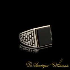 Square Onyx Classic Silver Men Ring