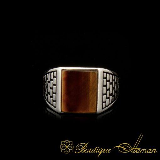 Square Tiger's Eye Classic Silver Men Ring