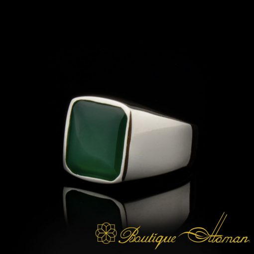 Plain Square Green Agate Modern Silver Ring