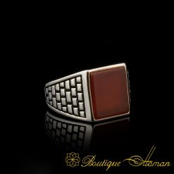 Square Aqeeq Classic Silver Men Ring made in 925 sterling silver.