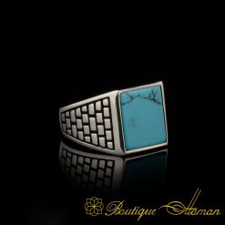 Square Feroza Turquoise Classic Silver Men Ring