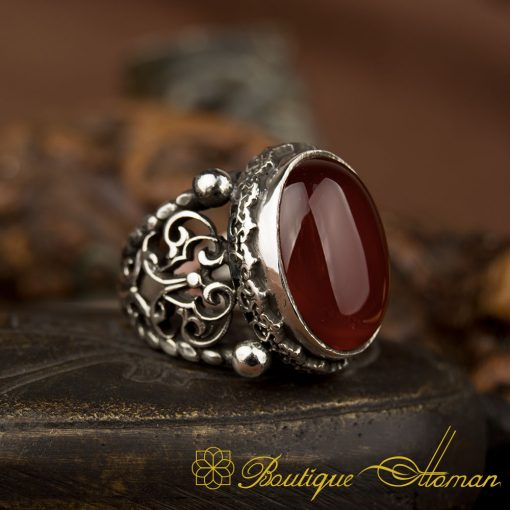 Traditional Hand Made Red Yemeni Aqeeq Silver Ring BOM-1044-d