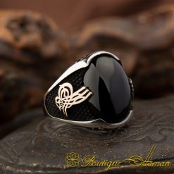 Classy Gentle Onyx Men Ring With Tughra