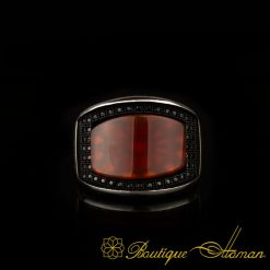Curve Collection Red Agate Silver Ring-2