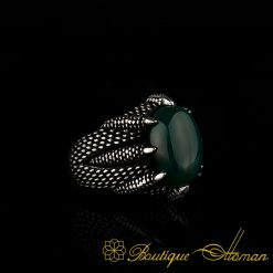 Falcon Collection Green Agate Ring