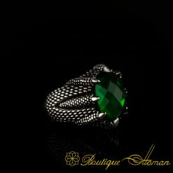Claw Of Falcon Green Zircon Silver Ring