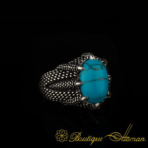 Claw Of Falcon Turquoise Silver Ring