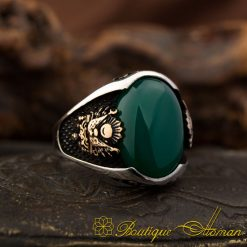 Green Agate Silver Ring With Coat Of Arms-1